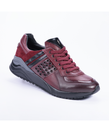 Sneakers Cesare Paciotti 4US Made in Italy, in pelle colore bordeaux,