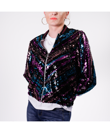 Bomber Motel Donna in tessuto con paillettes multicolor