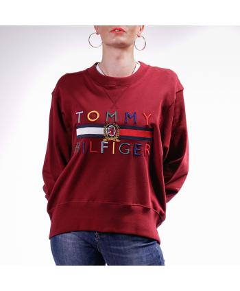 Felpa Tommy Hilfiger Donna in cotone bordeaux
