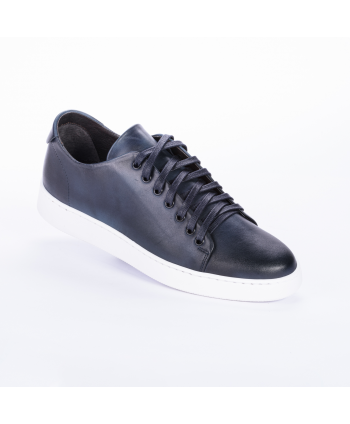 Sneakers Andrea Nobile Made in Italy in pelle colore blu.