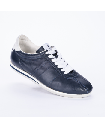 Sneakers stringata Cesare Paciotti 4US Made in Italy, in morbida pelle colore blu.