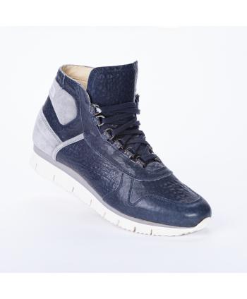 Sneakers stringata Cesare P Made in Italy, in morbida pelle colore blu, con dettagli in camoscio laterali