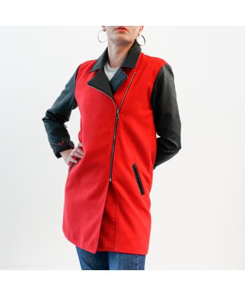 Cappotto Hellen Barrett Donna in lana e pelle colore rosso