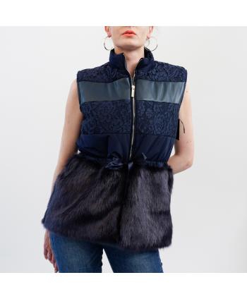 Gilet Roberta Biagi A/I donna in tessuto blu trapuntato