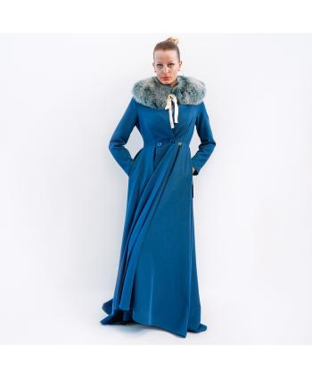 Cappotto lungo Roberta Biagi A/I donna in panno blu ottanio