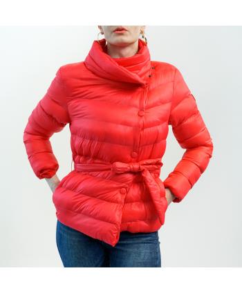 Piumino Artigli donna in tessuto rosso corallo trapuntato