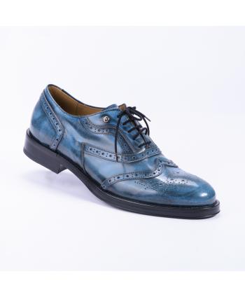 Stringata Cesare Paciotti Made in Italy in pelle colore blu