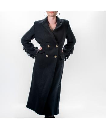 Cappotto Tensione In donna in tessuto millerighe nero