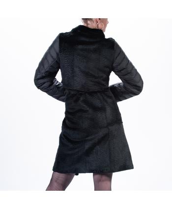 Pelliccia Betta Corradi donna A/I colore nero in astracan e piumino