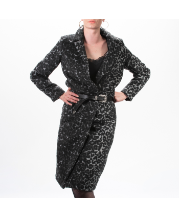 Cappotto Paolo Casalini donna in panno grigio e nero maculato