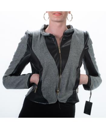 Giacca Roberta Biagi A/I donna nero e grigio in tessuto ed ecopelle