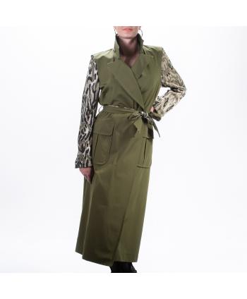 Cappotto Tensione In P/E donna in tessuto verde militare