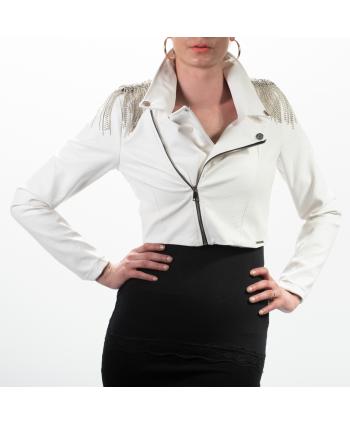 Chiodo Hellen Batter P/E donna in ecopelle bianco