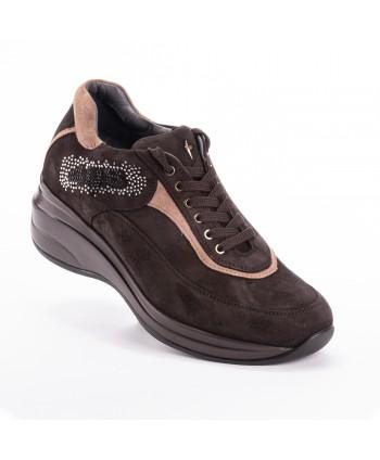 Sneakers Cesare Paciotti 4us marrone con dettagli beige