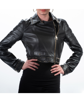 Chiodo Versus Versace donna in pelle colore nero