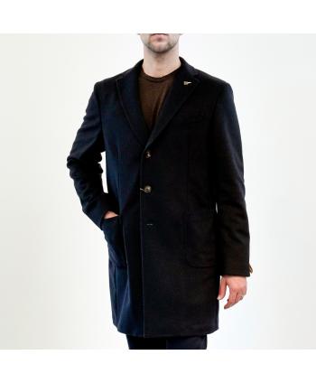 Cappotto Paoloni Uomo 100%  lana vergine colore blu notte