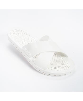 Ciabatta Sensi Made in Italy in gomma in colore bianco, con incrocio