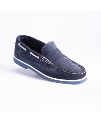 Mocassino Classic Boat Andrea Nobile Made in Italy in camoscio color blu con suola in gomma.