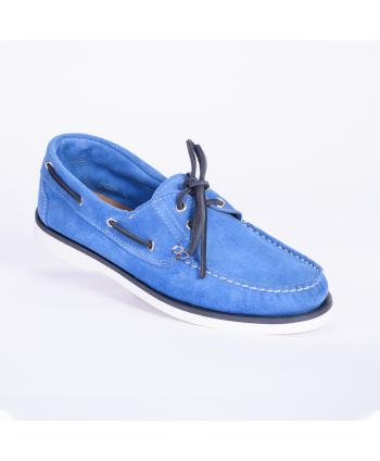 Mocassino Classic Boat Andrea Nobile Made in Italy in camoscio royal colore blu elettrico, con suola in gomma.
