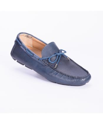 Mocassino Andrea Nobile Made in Italy in pelle intrecciata colore blu, fondo gomma.