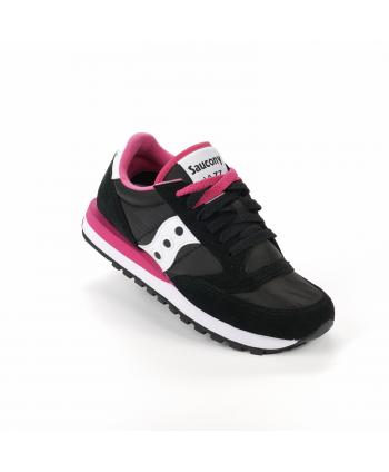 Sneakers Saucony Jazz in pelle scamosciata e nylon, di colore nero e rosa shock