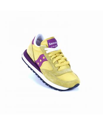 Sneakers Saucony Jazz in pelle scamogliata e nylon, di colore giallo e fucsia
