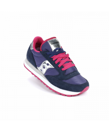 Sneakers Saucony Jazz in pelle scamosciata e nylon, colore blu e rosa shock